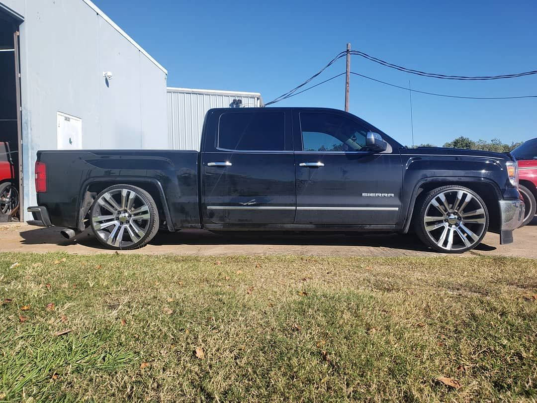 Chevy Silverado Crew Cab 5 7 Drop On 24s With Low By Reklez Silverado Crew Cab Dropped Trucks Gmc Vehicles