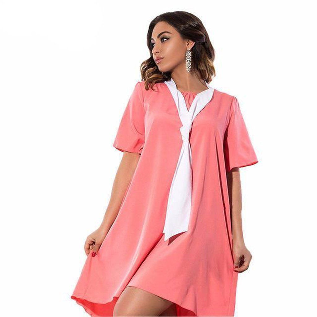 Caly Kaana Plus Contrast Pusy Bow Dress Women Plus Size