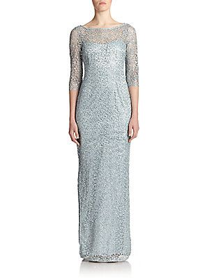 aaaa02f04da KAY UNGER SEQUINED LACE COLUMN GOWN.  kayunger  cloth