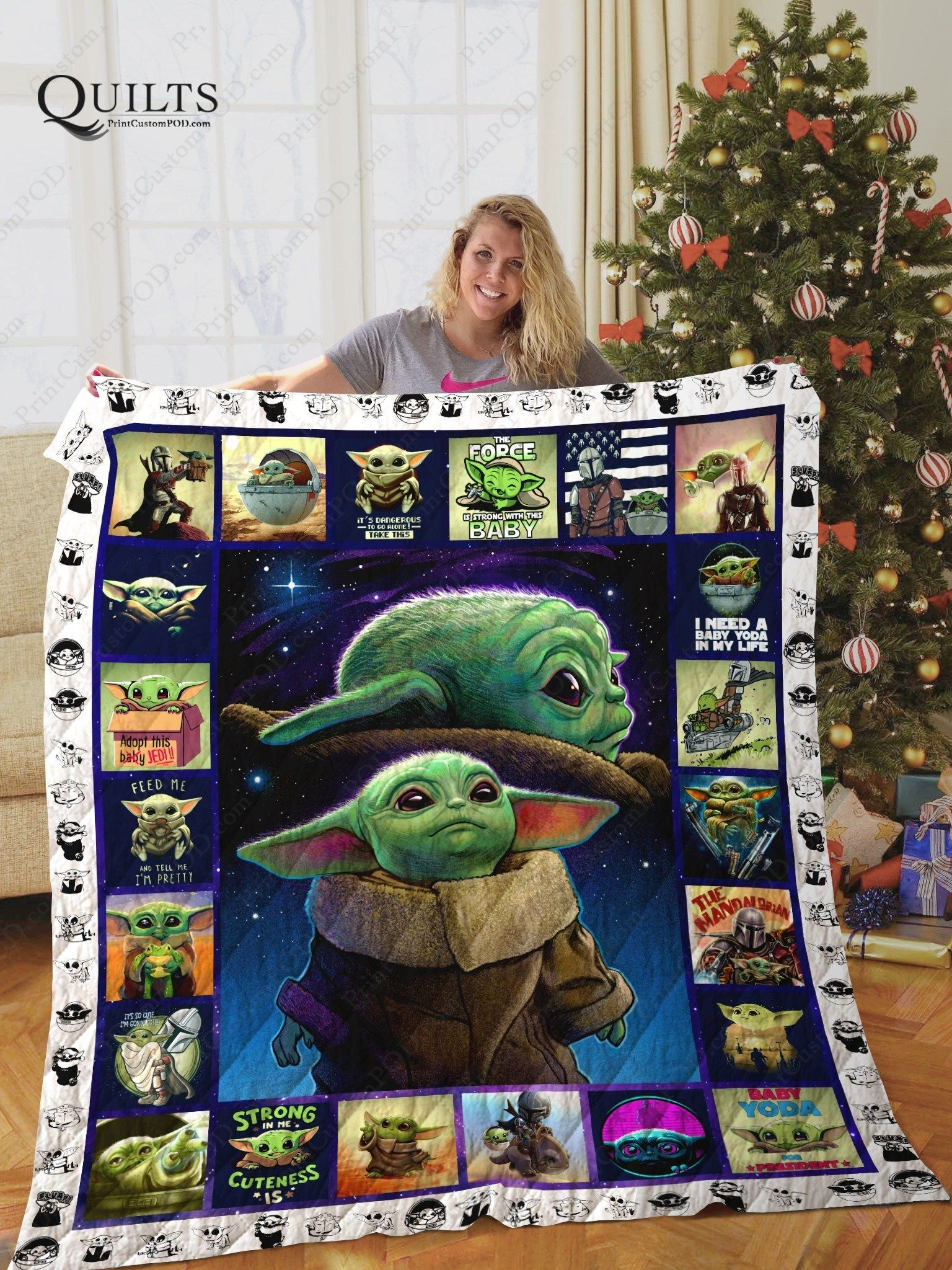 [BLT] Baby Yoda Quilt Blanket Ver 3 PrintQuilts Star