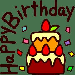 ハッピーバースデーカードお祝いメッセージ 気持ちを贈りキモチ伝えるグリーティング お誕生日おめでとうデカ文字英語 ケーキ 花束 かわいく動くみんなのイベントシリーズ ハッピーバースデー 画像 ハッピーバースデー 誕生日おめでとう メッセージ