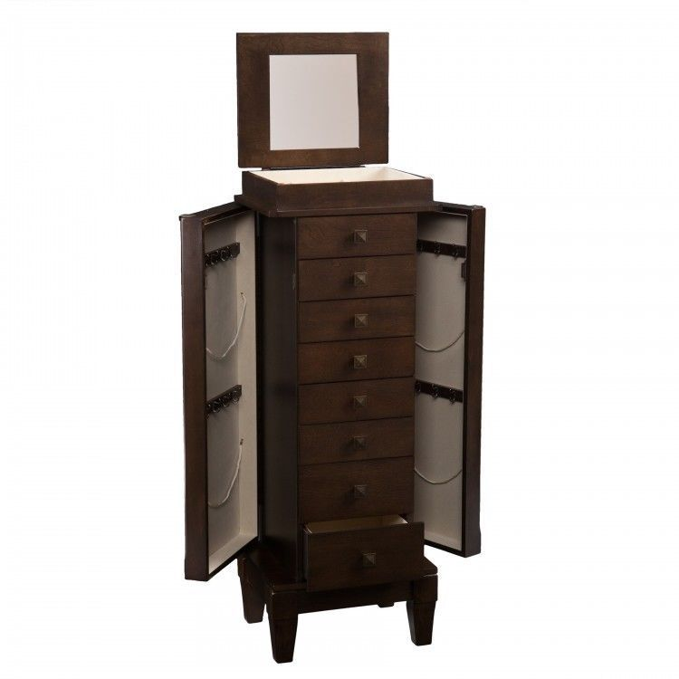 Jewelry Box Armoire Chest Mirrored Drawers Tall Storage Cabinet