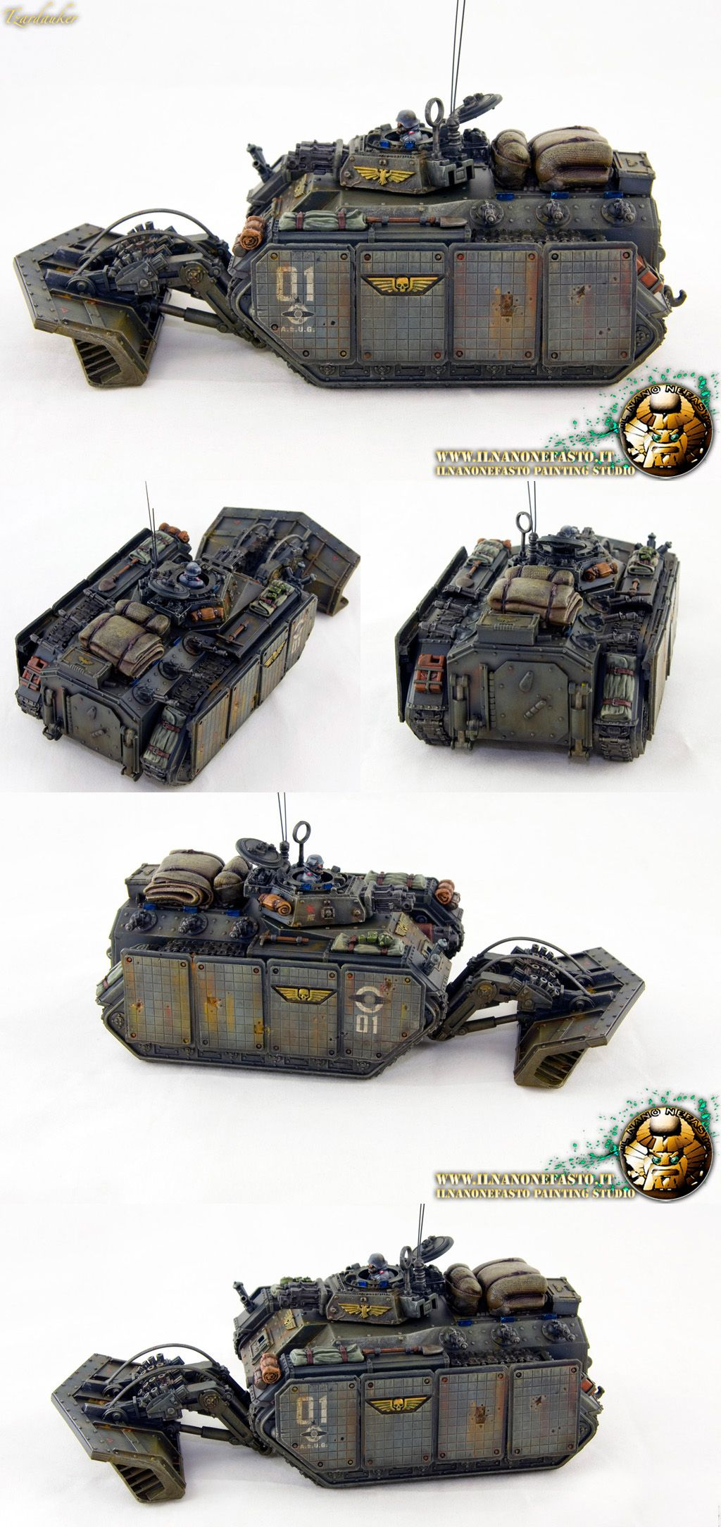 Imperial guard Chimera: Heavy bolter turret, additional armor and shovel mine.