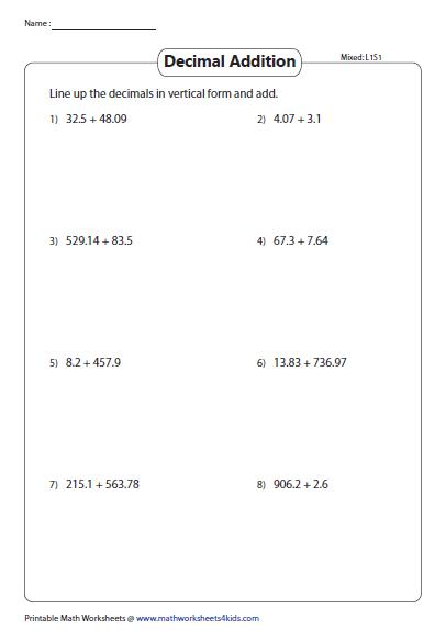 Review Worksheets Tenths Hundredths Thousandths Printable Math Worksheets Decimals Add Decimals