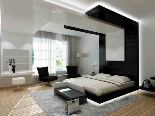 Schlafzimmer Modern Akzentwand Schwarz Edel Indirekte Beleuchtung