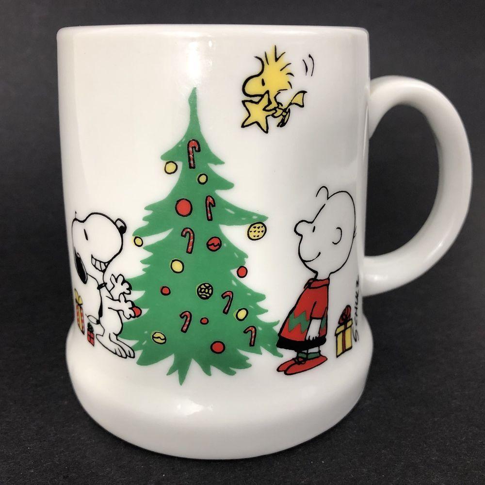 Peanuts Stonewear Snoopy Christmas Mugs Red Cheer /& Green Happy Holidays 4