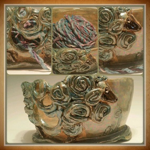 Shimmering sheep  yarn bowl by Afromationpottery on Etsy