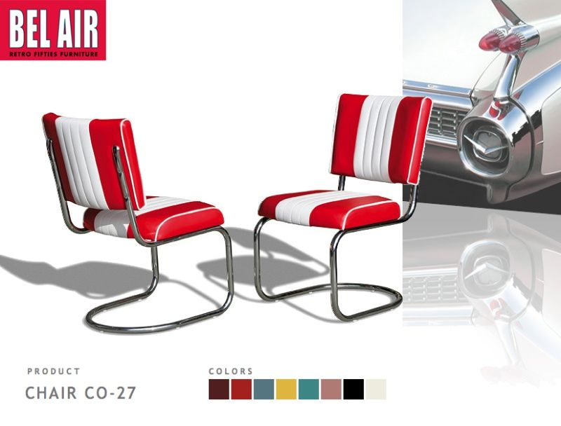 Bel Air Diner chair CO 27   red   Vintage stoel CO 27  Bel Air Diner chair CO 27   red   Vintage stoel CO 27   red  . Red Retro Diner Chairs. Home Design Ideas