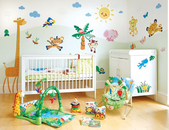 Fisher Price Animals Of The Rainforest Nursery Wall Stickers Kit Includes A Gorgeous Giraffe Height Chart Generic Designs Are Perfect So You Can