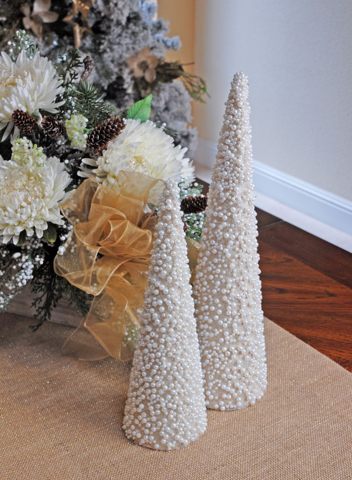 Pearl Topiary Cone 15.5in | Christmas centerpieces diy ...