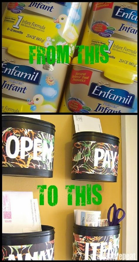 Mail Center Upcycled Formula Tubs Formula Can Crafts Formula Containers Baby Formula Containers