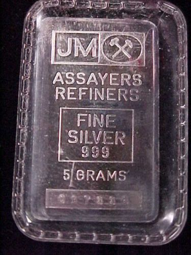 Rare Johnson Matthey 5 Gram 999 Fine Silver Bar Ingot Jm Priced 2 Sell Ebay Silver Bullion Silver Fine Silver