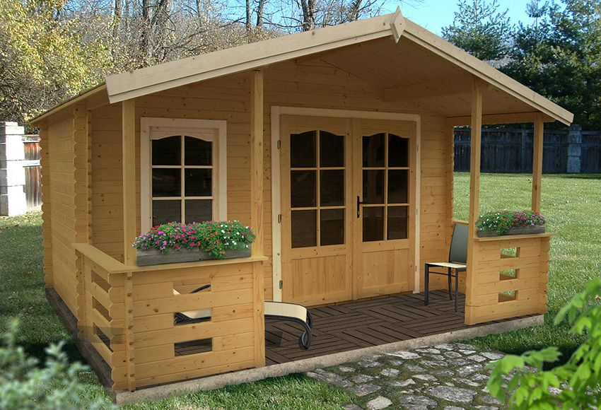 Caseta de madera de 17 09 m2 louvigne ref 15326703 for Casetas de madera prefabricadas leroy merlin