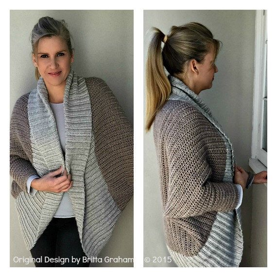 Oversized Shrug Crochet Pattern With Ribbed Shawl Collar Sweater