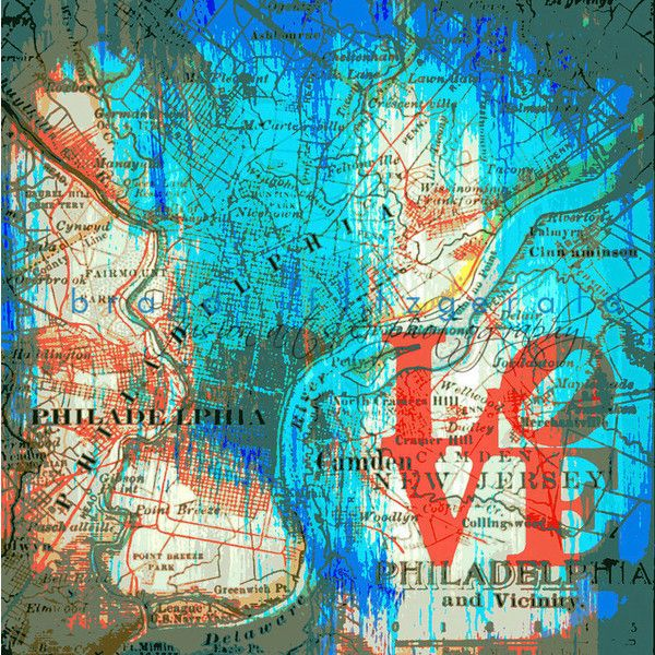 Philadelphia Love Inspired Vintage Map Decor Product Options and ...