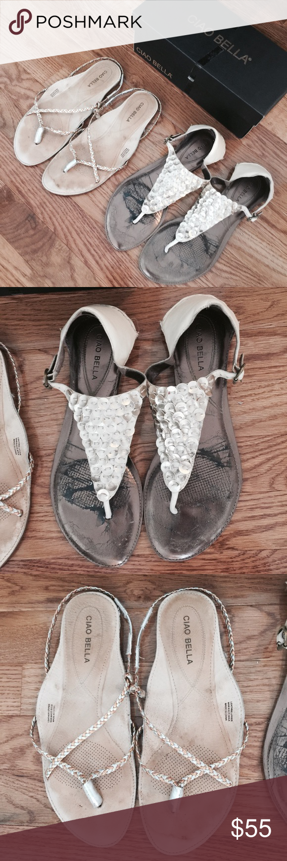 2 pairs! Anthropologie CIAO BELLA metallic sandals 2 pairs of sandals. Made by CIAO BELLA. Size 8.5 and 9. Shoes show wear. Leather upper and rubber soles. Please see pictures. Listing is for both pairs. Thanks for looking! Cheers🙂 Anthropologie Shoes Sandals