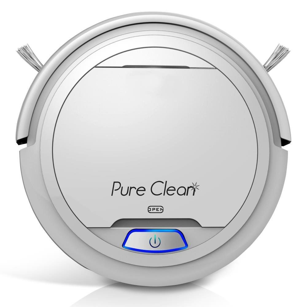 Pureclean Automatic Robot Vacuum Cleaner Robotic Auto Home Cleaning For Clean Carpet Hardwood Floor Bot Self Detects Stairs Hepa Filter Pet Hair Allergies Friendly Pucrc25 White