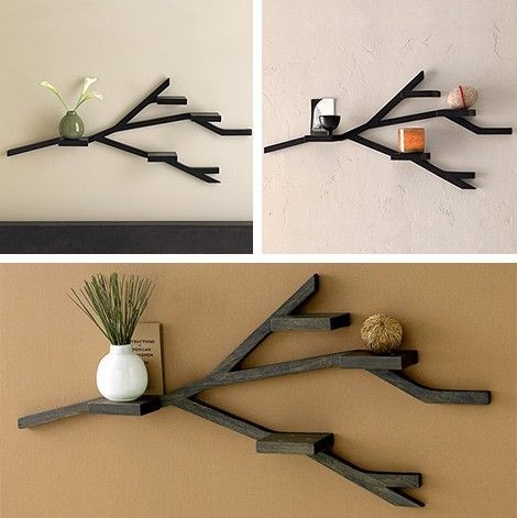 Diy Wall Shelf From Scrap Lumber To Look Like A Tree Branch Very Thrifty A Pretty Simple Craft Too Woodwork Natural Home Decor Diy Wall Shelves Diy Home Decor