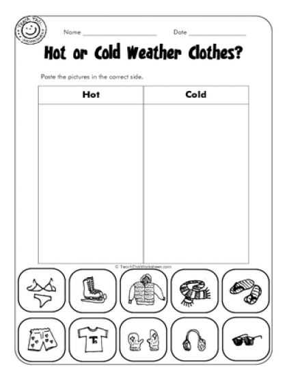 math worksheet : hot or cold weather clothes  escuela  pinterest  worksheets  : Hot And Cold Worksheets For Kindergarten