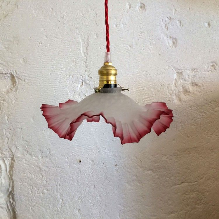 Lustre suspension plafonnier vintage ancien abat jour en