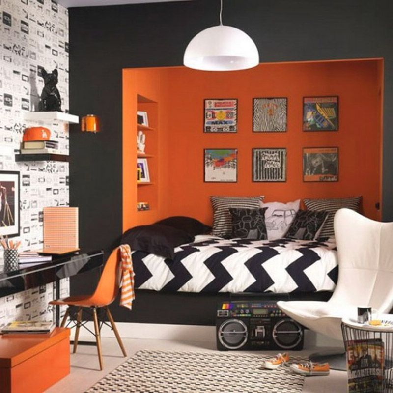 Colorful Bedroom with Orange Accents! YES if it was squared neon colors instead of orange!!! Repin if you like, love, or even adore :D