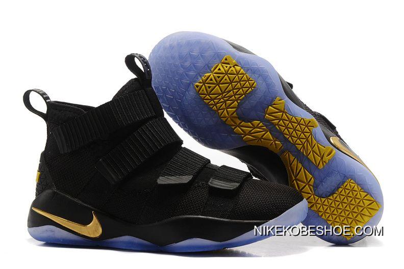 0ec496bda12 2017 Nike Lebron Soldier 11 Black Gold Basketball Sneakers Latest ...