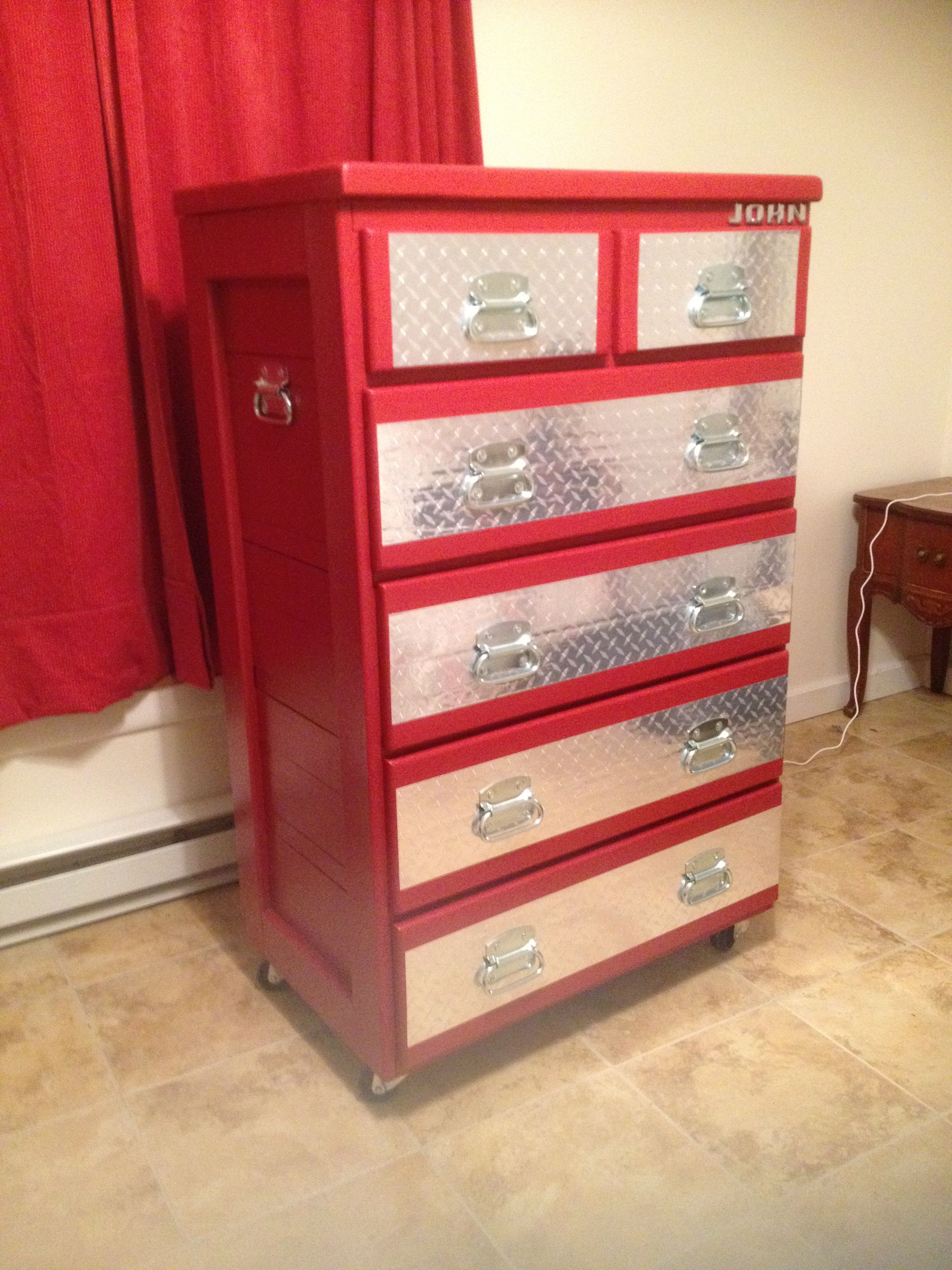 Nice for a boy 39 s room looks like a tool chest painted - Dresser for small room ...