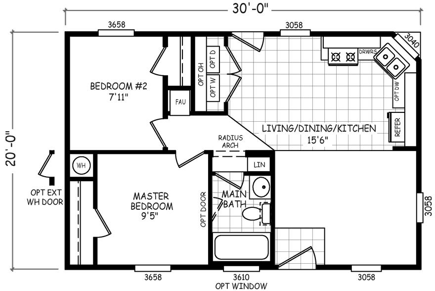 Pueblo 20 X 30 600 sqft Mobile Home Factory Select Homes