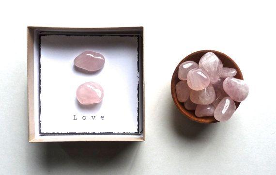 L O V E  ROSE QUARTZ intention stones with gift box small gift unique wedding favor