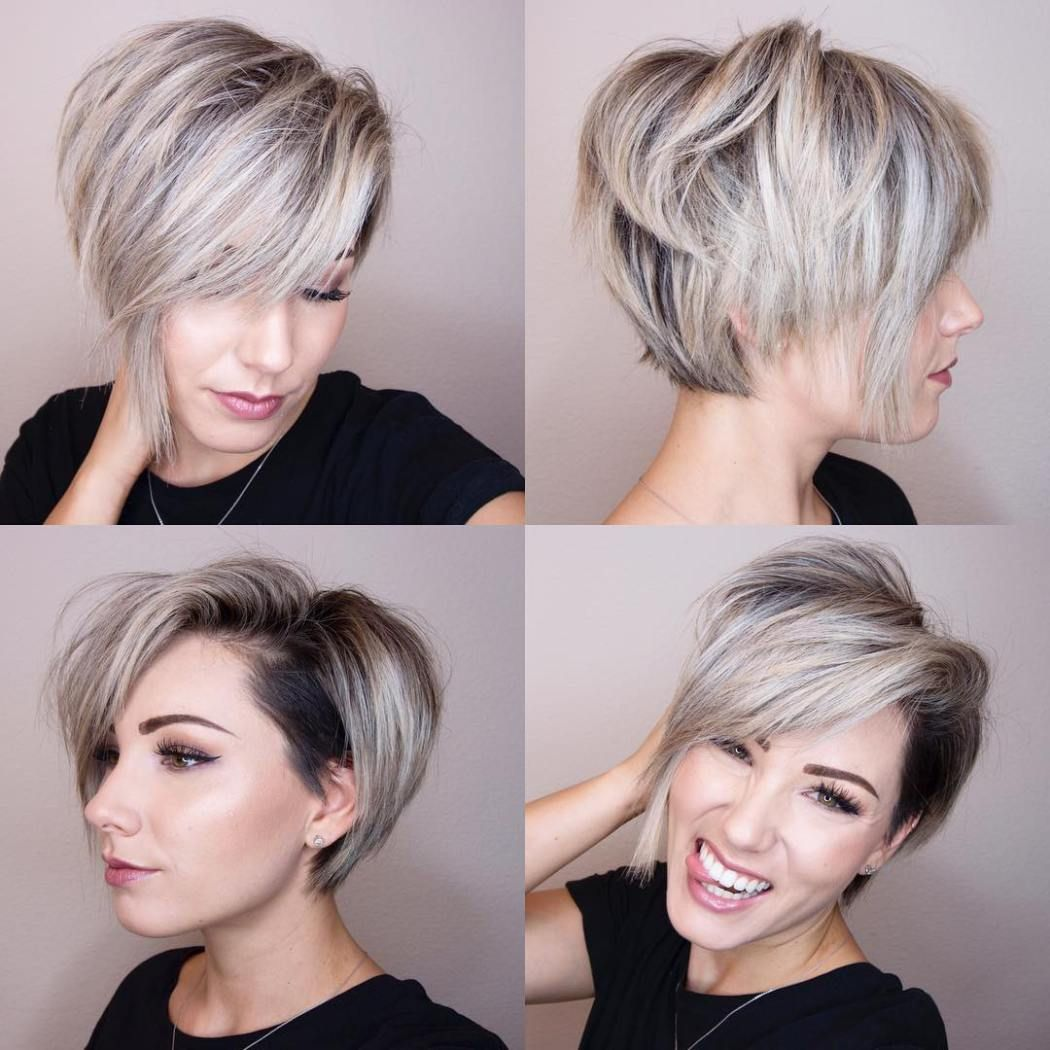Pixie with Temple Undercut, cute dark roots