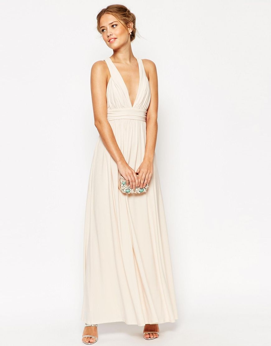 Image of asos wedding ruched double strap maxi dress bridesmaids