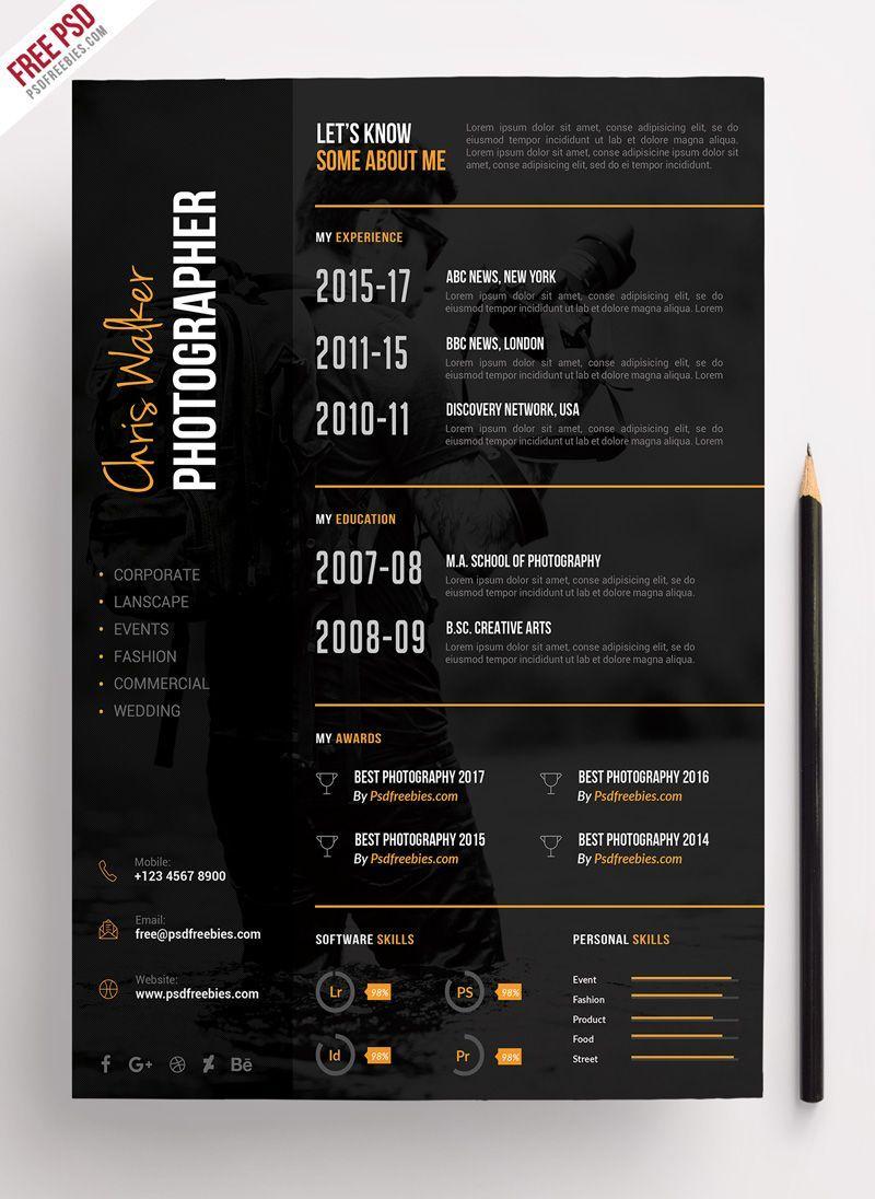 Photographer Resume CV PSD Template Photographer resume