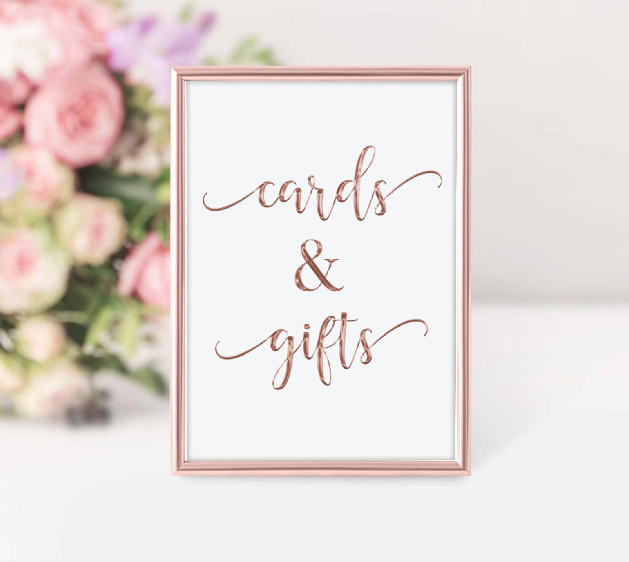 Rose Gold Cards And Gifts Sign Gift Table Sign Cards And Gifts Etsy Gift Table Signs Printable Wedding Sign Gifts Sign