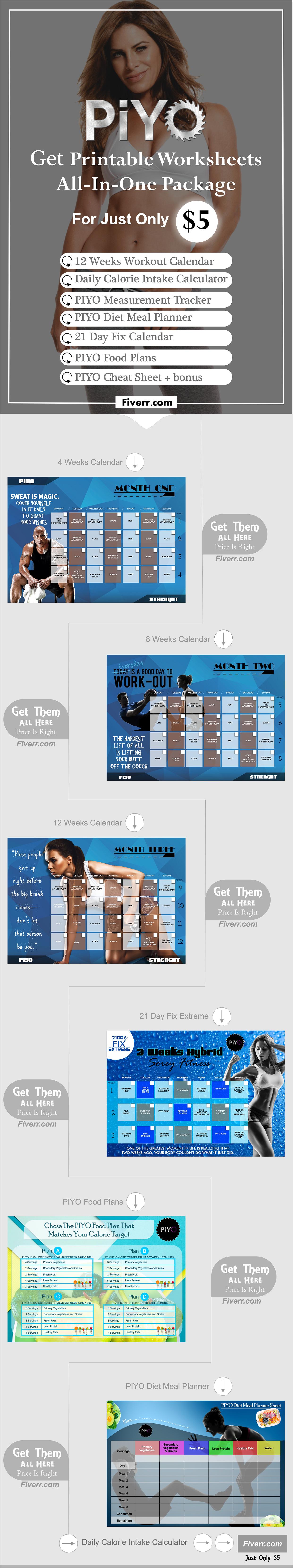 Get The All In One Package Piyo Printable Worksheet For