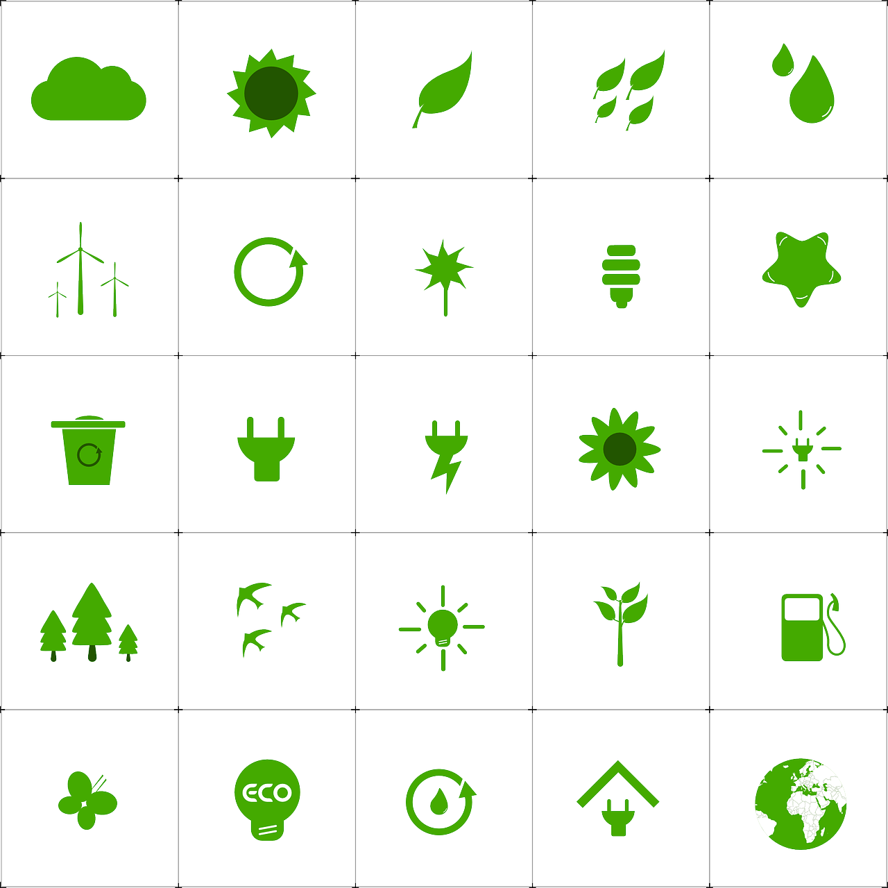 Forest Green Living Ecology Environment Icons Set Forest