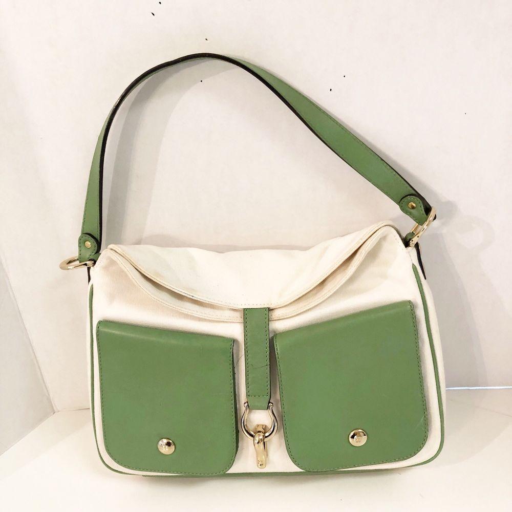 Kate Spade New York Green Ivory Canvas Leather Pocket Hobo Shoulder Bag Ebay