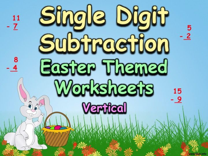 Single Digit Subtraction - Easter Themed Worksheets - Vertical - easter powerpoint template