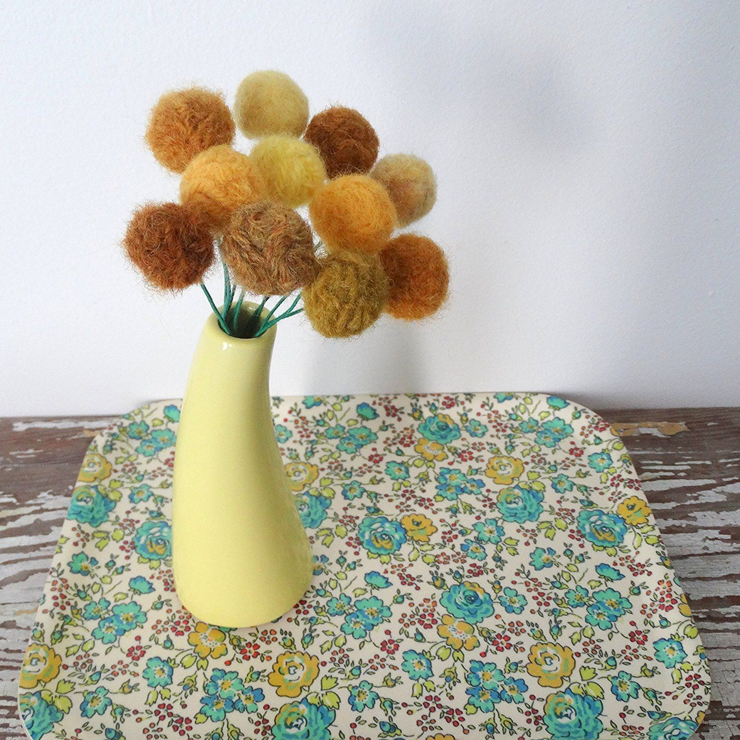 Mustard Yellow Felt Flowers Wool Pom Pom Ball Flower Craspedia