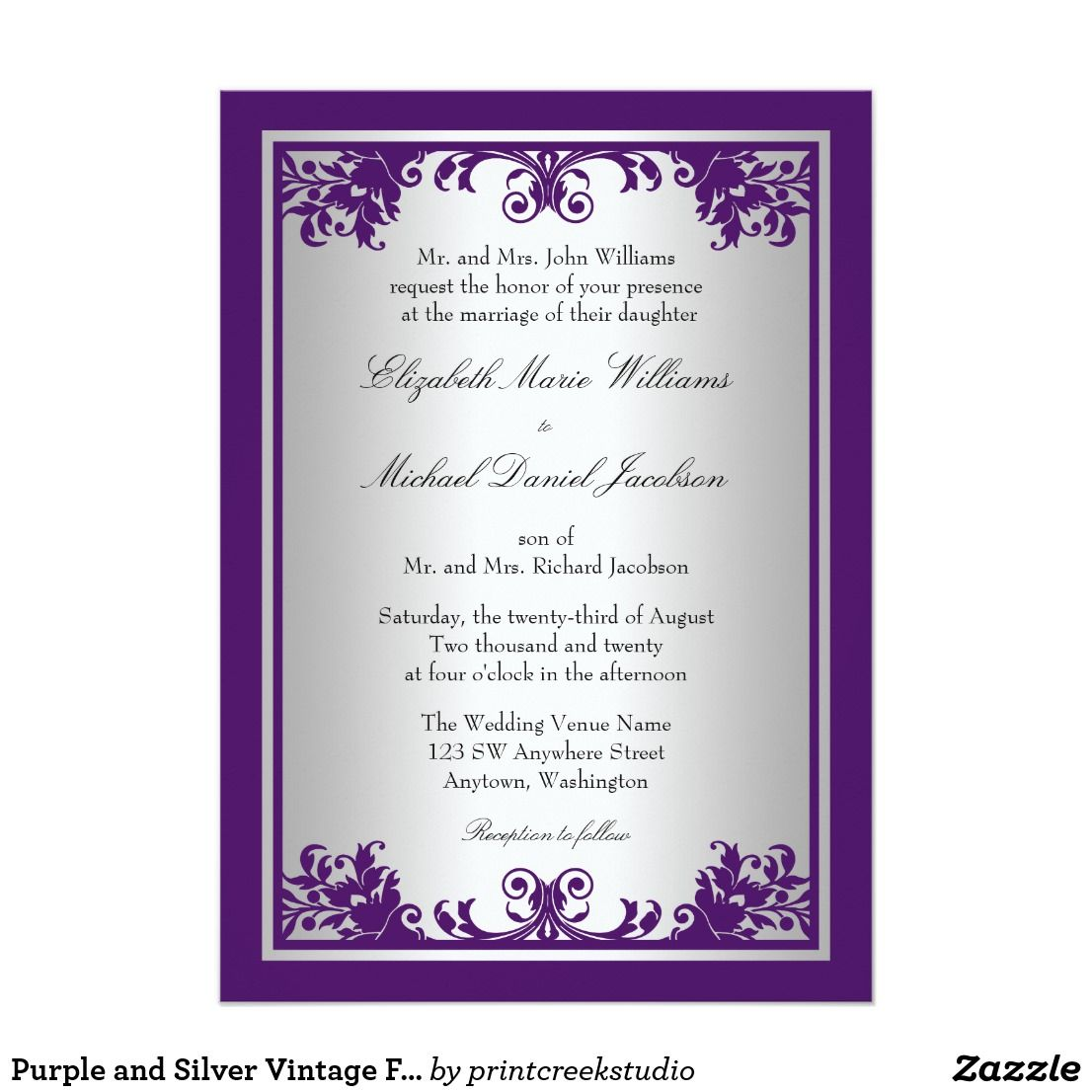 Purple and Silver Vintage Flourish Scroll Wedding Card An elegant vintage flourish scroll design is featured on this formal purple and faux silver wedding ...