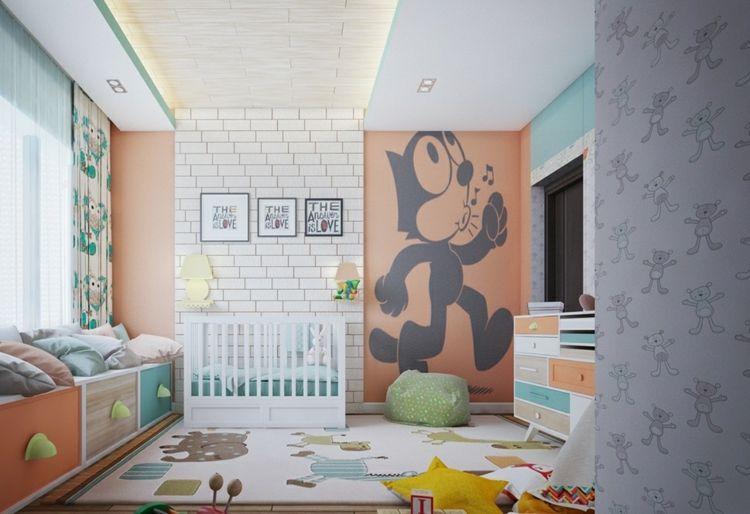 Design Babyzimmer Farbenfroh Teppich Figuren Pastellfarben Wanddeko