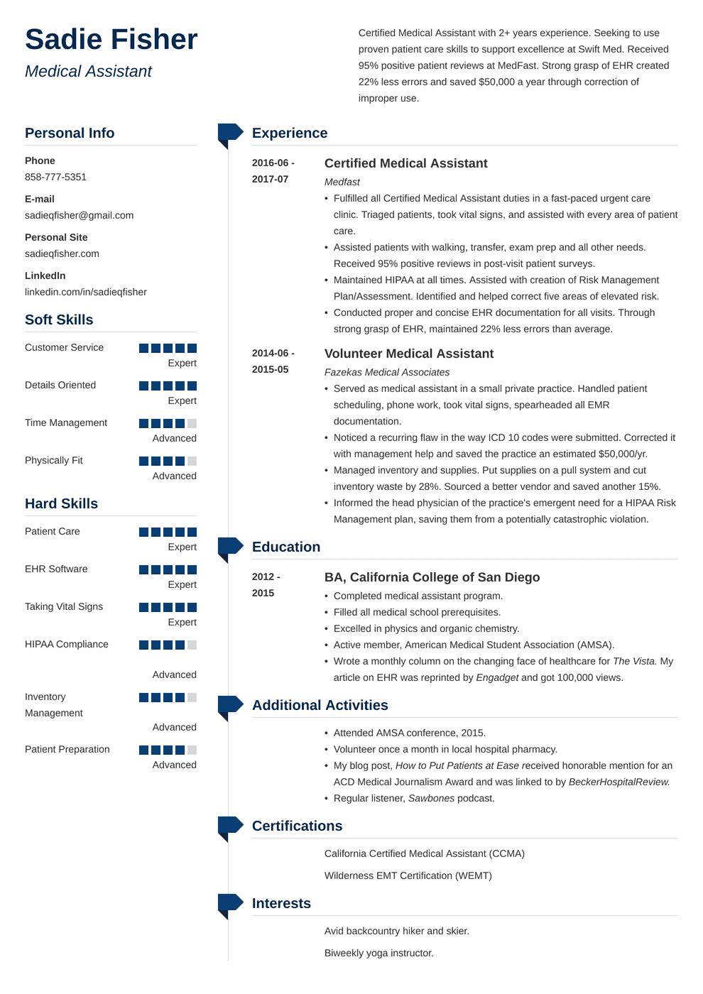 10++ Medical assistant resume description Examples