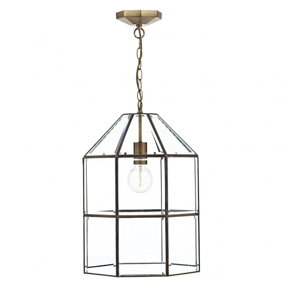 The Lighting Book CACHETTE Pendant Light fitting. A splendid glass paneled  antique brass lantern.
