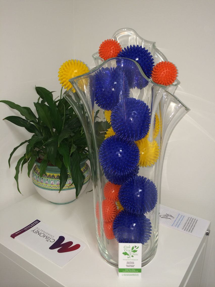 Oak Tree Clinic Spikey Balls To Help People Maintain Health Wellbeing Advising Teaching Empowering P Therapy Room Ideas Health And Wellbeing Therapy Room