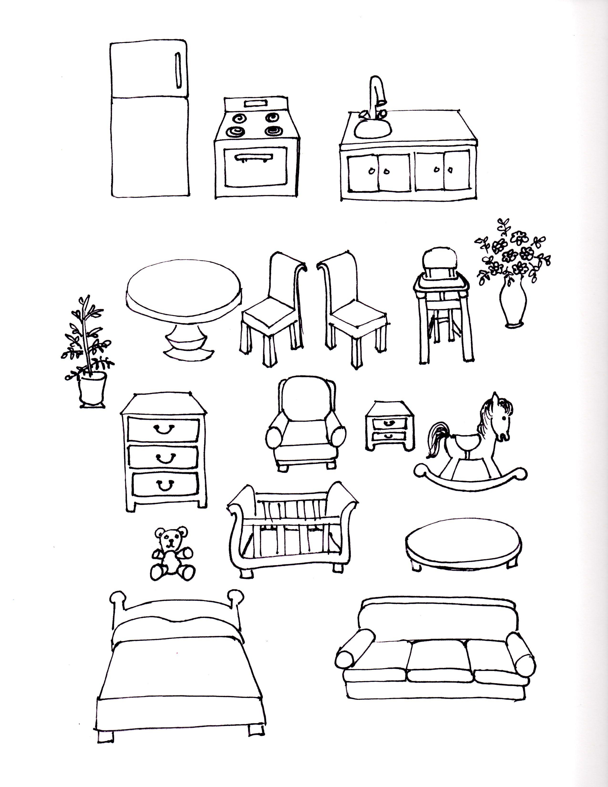 Smaller Version Of Paper Doll Furniture Furniture Sketch Children Sketch Doodle Art Drawing