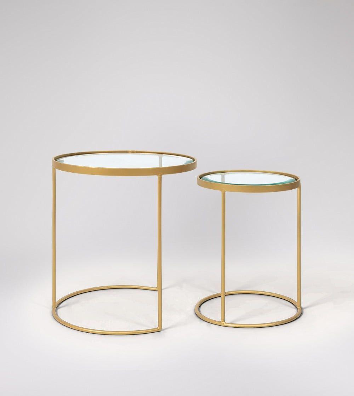 Seymour Brass Glass Side Table Set Swoon Diakosmhsh Spitioy