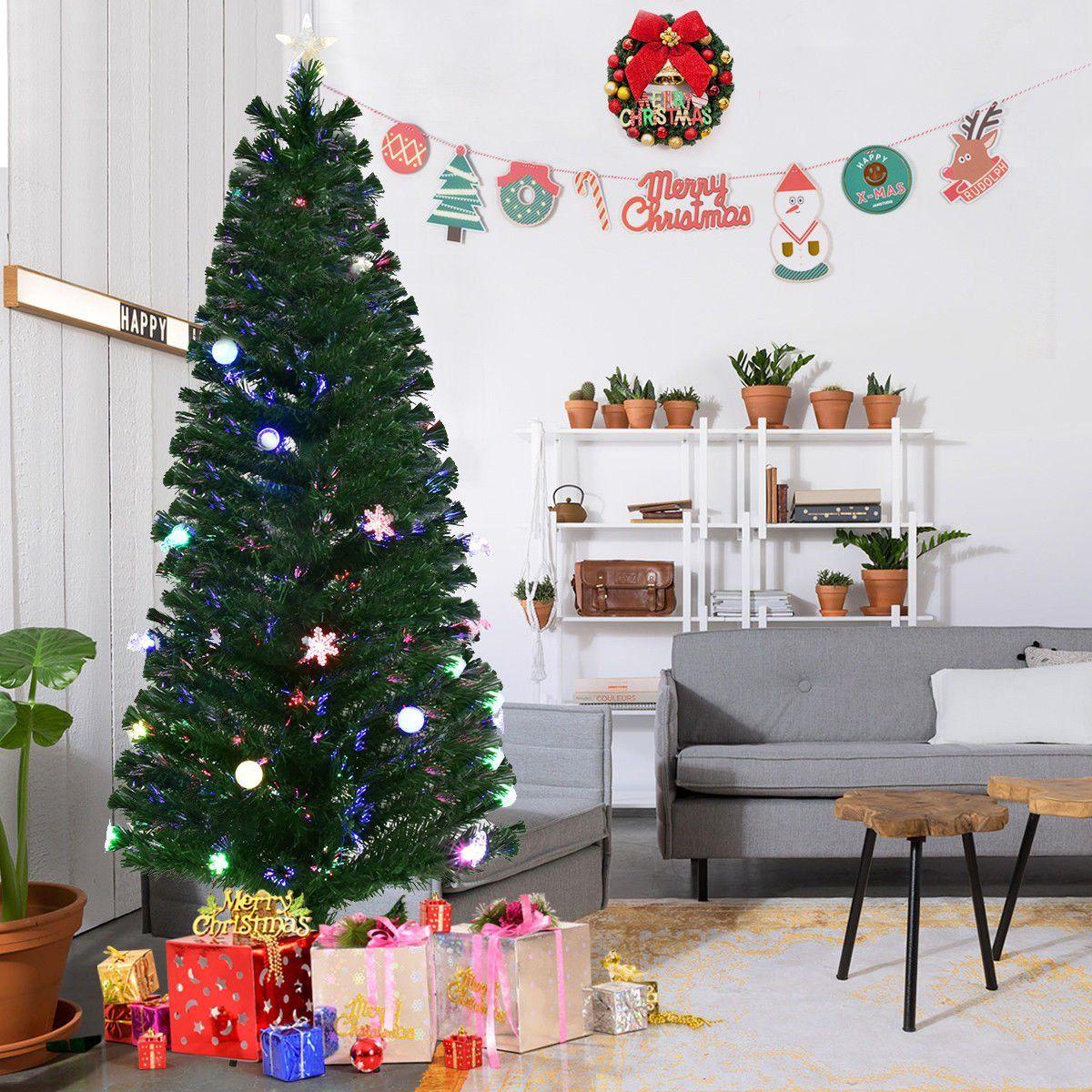 6.5ft PreLit Artificial Christmas Tree Slim Spruce