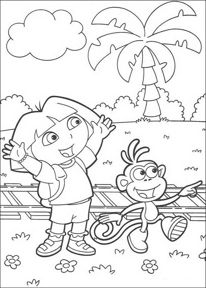 A4 Kleurplaten Dora.Kleurplaat Dora De Verkenner Dora En Boots Dora Coloring