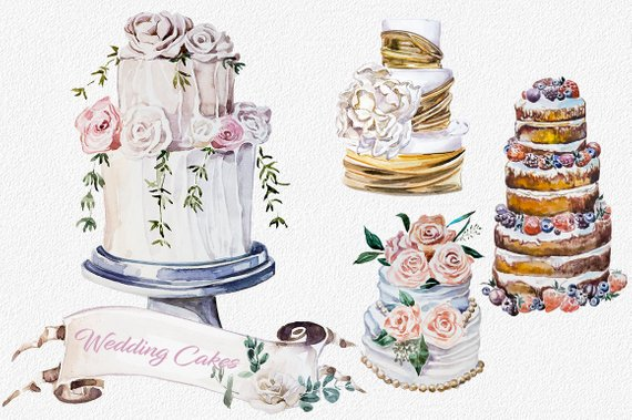 Watercolor Wedding Cakes Clipart Set Watercolor Dessert Banners