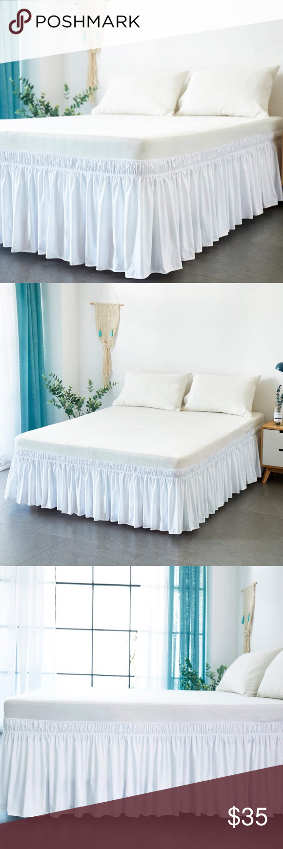 Bed Skirt Snow White 🎀 Bedskirt, Solid bed, Ruffle bedding