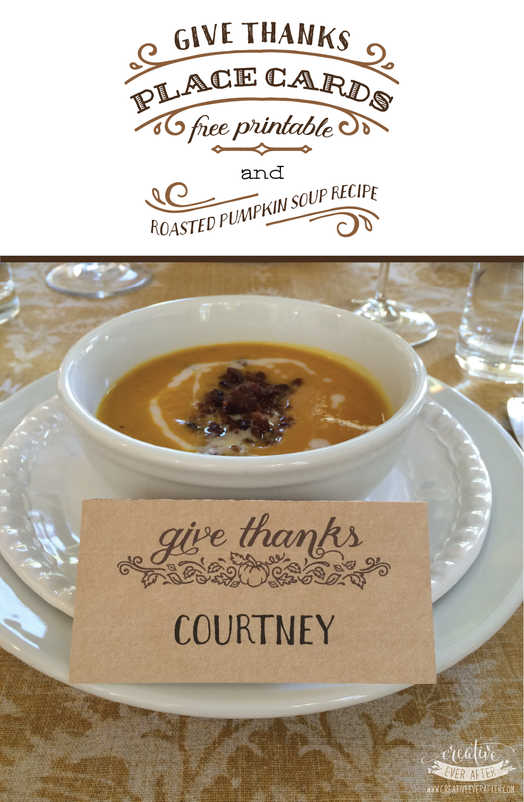Free Printable Give Thanks Place Cards And A Roasted